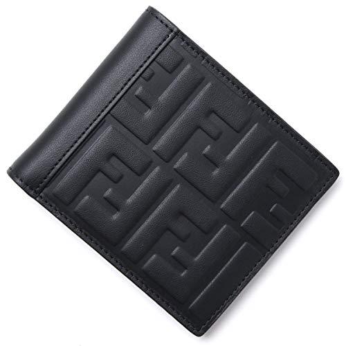 Fendi Herren-Geldbörse, zweifach faltbar, mit FF-Motiv, Schwarz