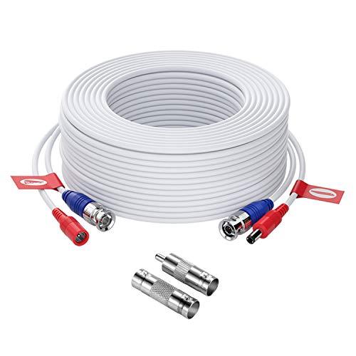 ZOSI Cable 30m/100 pies de BNC Video para CCTV Kit de Cámara Seguridad Vigilancia DVR (1 Pack Blanco)