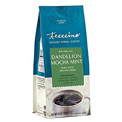 Teeccino Coffee Alternative – Dandelion Mocha Mint – Detox Deliciously with Dandelion Herbal Coffee That's Prebiotic, Caffeine Free & Gluten Free, Medium Roast, 10 Ounce