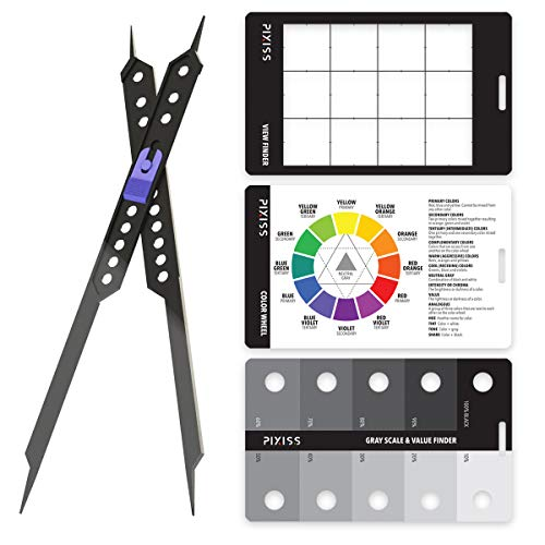 Proportional Divider Drawing Tool for Artists by Pixiss, Gray Scale Value Finder, Color Wheel and Artists View Catcher Finder