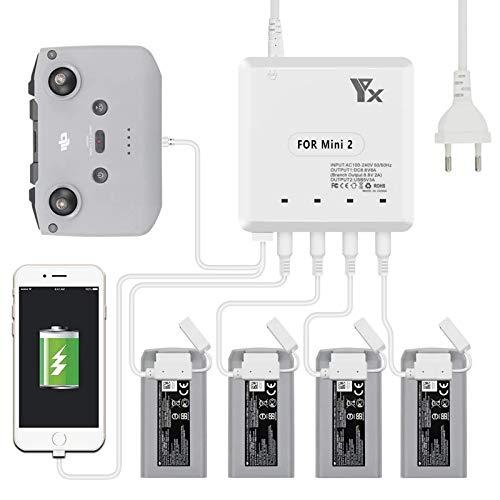 Cargador para Mini 2 Drones Carga cuatro baterías al mismo tiempo Accesorios USB Mando a distancia para DJI Mini 2 Drones (Normas Europeas)