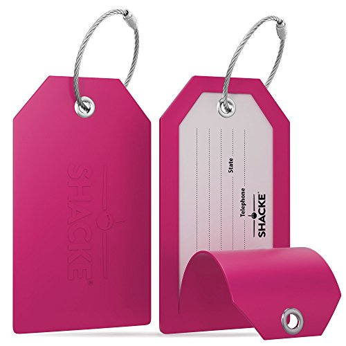 Shacke Luggage Tags with Full Back Privacy Cover w/Steel Loops - Set of 2 (Pink)
