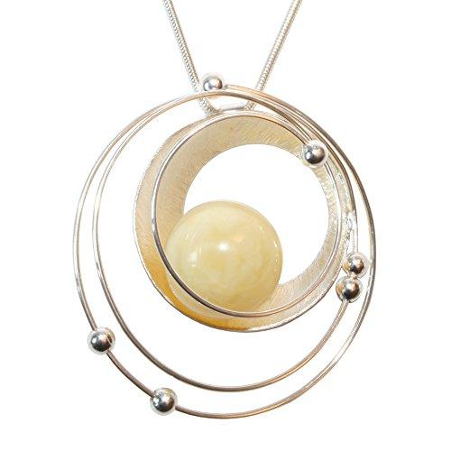 Heliaden 925 sterling zilveren zonnesysteemketting met barnsteenkogel voor dames