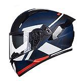 Casco Da Moto Integrale Casco Da Moto Standard Con Visiera Parasole Integrata E Visiera Pieghevole Protezione Uomo E Donna Certificazione ECE Racing Crash Helmet H,XXXL(65~66cm)