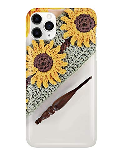 Crochet Hook and Sunflower Phone Case for Apple iPhone X/XS - Design 2D 3D Printed Clear TPU Soft Slim Flexible Silicone Cover Compatible Protective Anti-Scratch Shock Absorption