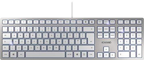 CHERRY KC 6000 SLIM, UK Layout, QWERTY, USB Keyboard, Ultraflaches Design, Kabelgebunden, Weiß-Silber