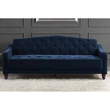 Novogratz Vintage Tufted Sofa Sleeper II (Navy Velour)