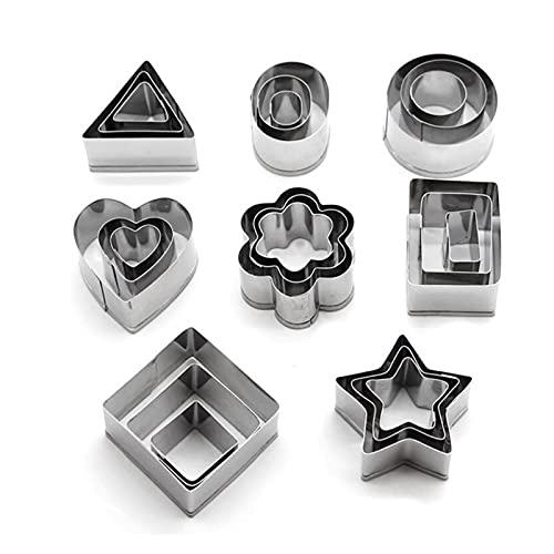 ZRNG 24 Pz Attrezzi per Gioielli in Argilla Polymer Set Geometric Flower/Heart/Square/Circle/Hexagon/a Forma di Stella Taglio della Muffa di ceramiche Fai da Te