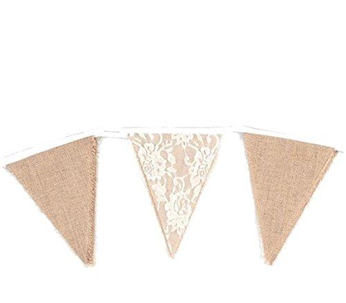 Jingyuu wimpel-slinger banner linnen driehoek natuur banner kant vintage stof decoratie voor feestjes bruiloft verjaardag