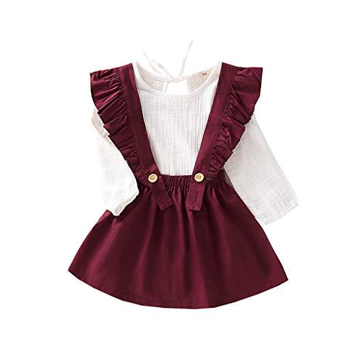 Kleidung Set Baby Dasongff Mädchen Kleinkind Baby Toddler Kinder Langärmeligen 2 Stück Kind Baby Langarm Bluse+ Riemen Rock Anzug Falten Shirt