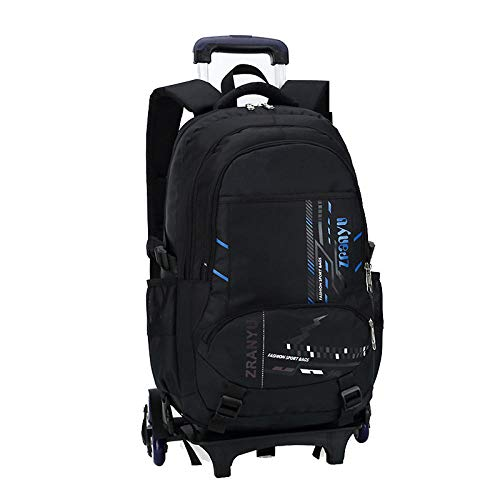 ZZLHHD Trolley School Bag,Large-capacity tie rod bag, hand trap-blue_Six rounds,Cartoon Trolley Backpack