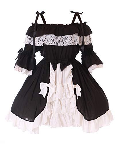 JL-665/2 Schwarz Weiß Chiffon Rüschen Schleife Träger Kleid Sweet Gothic Lolita Kostüm Cosplay (L-XL)