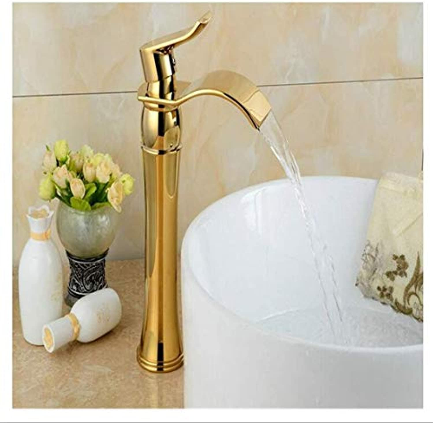 Vintage Brass Hot And Cold Water RotationGold Faucet Single Handle Antique Kitchen Basin Mixer Taps Single Hole Sink Faucet