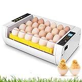 Incubadora Automática de 24 Huevos con Pantalla y Luz de LED Inversión Automática y Control Eficiente e Inteligente de Temperatura y Humedad