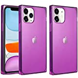 VUIIMEEK Square Case for iPhone 12 /Designed for iPhone 12 Pro 6.1 Cute Crystal Clear Design Slim Flexible Soft TPU Impact Shockproof Cover Reinforced Bumper Cool Transparent Protective Case(Purple)