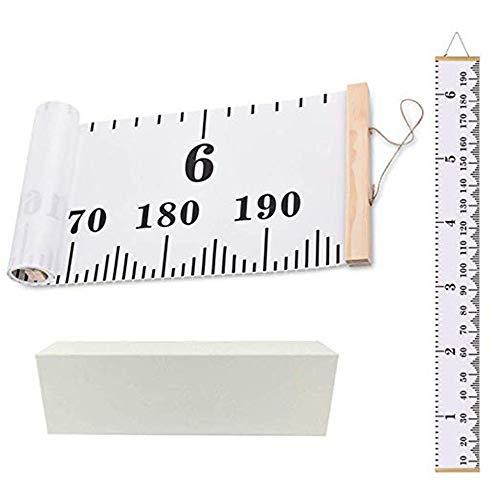 MUXItrade Messlatte für Kinder Wand Höhe Diagramm Leinwand Kinderzimmer Hängende Wachstumskarte Wachstumsmesser Messleiste in Weiß 20cm x 200cm