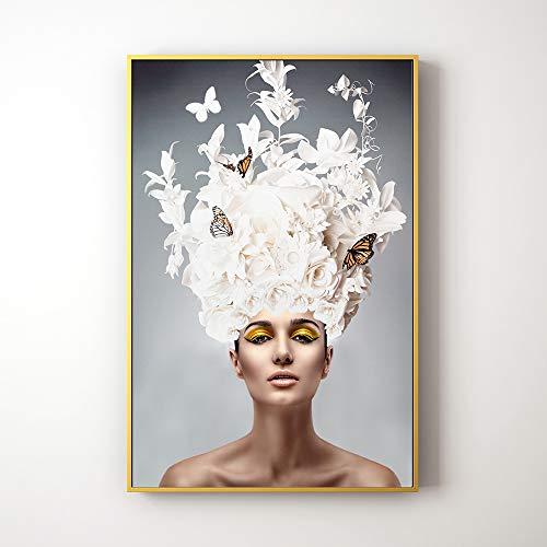 ZHQHYQHHX Wandmalerei Abbildung Kunst Weiße Blumen-Schmetterlings-Schönheit Dekorative Malerei Gold Bilderrahmen Mural HD Micro-Spray Hängende Malerei (Size : 40cm*60cm)