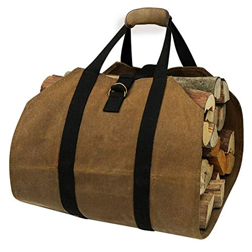 Affordable DAMEING Waxed Canvas Log Carrier Tote Bag Heavy Duty Wood Carrying Bag with Handles Durab...
