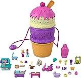 Polly Pocket Coffret Multifacettes Glace, mini-figurines Polly et Lila, 25 accessoires surprise, emballage fermé, jouet pour enfant, HFR00