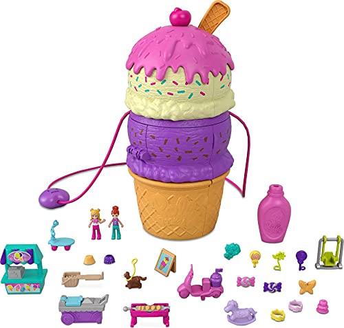 Polly Pocket HFR00 - Ausklappspaß-Schatulle Eiswaffel, Spielset in Form einer Eiswaffel, Spielplatz-Thema, drei Etagen, ab 4 Jahren