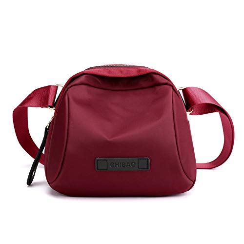 color shell female bag nylon bag Oxford cloth mommy bag shoulder messenger bag Autumn and winter-Crimson
