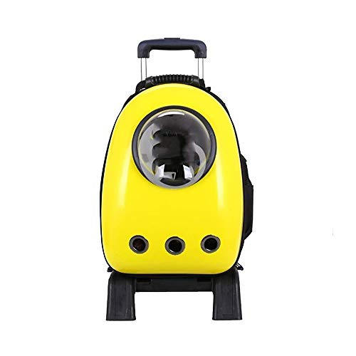FQCD Backpack Trolley Carrier Case Capsule Bubble Breathable Travel Pet Bag Strollers (Color : Yellow)