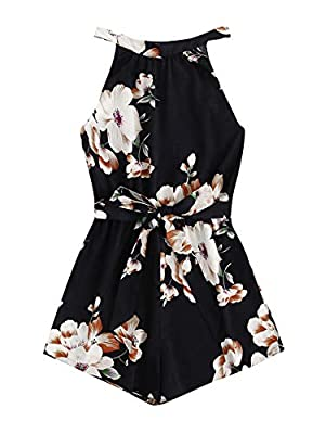SheIn Women's Tropical Floral Tie Back Belted Halter Romper Boho Sleeveless Playsuit Summer Jumpsuit Casual Jumper (Large, Multicoloured#1)