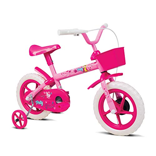 Bicicleta Infantil, Verden, Paty - Aro 12 com cestinha e rodinhas, Rosa/Fucsia