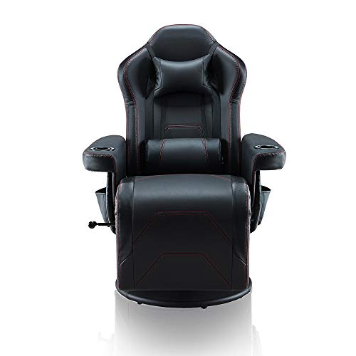 Depointer X Gaming Chair PC Computer Chair with Footrest Ergonomic Video Game Chair High Back Racing Gamer Chair Reclining Leather Office Chair with Headrest and Lumbar Support(Vibration),Black