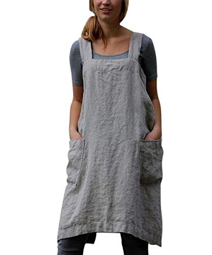SAMGU Vestido De Delantal Casual para Mujer Vestido De Lino con Delantal Cruzado Cuadrado De Lino Trabajo En El Jardín Gris L