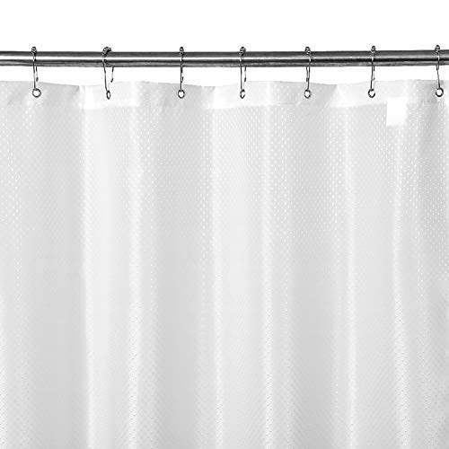 N&Y HOME Fabric Shower Curtain or Liner - Ultimate Waterproof of TPU, Machine Washable, Hotel Grade Bath Tub Shower Liner - Little Diamond White, 72x72