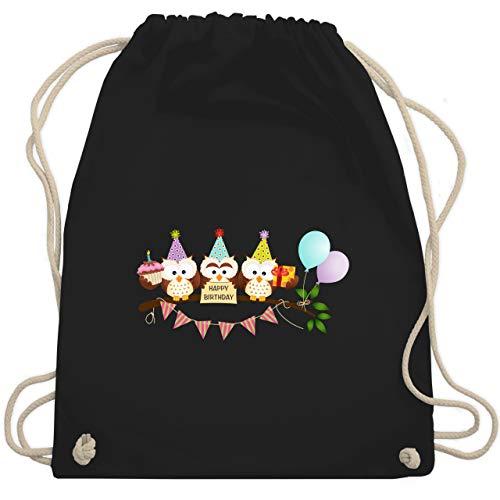 Shirtracer Geburtstag Kind - Party Eulen Happy Birthday - Unisize - Schwarz - geschenkpapier eule - WM110 - Turnbeutel und Stoffbeutel aus Baumwolle