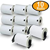 BETCKEY - Compatible DK-1241 Shipping 4' x 6'(101mm x 152mm) Replacement Labels,Compatible with Brother QL Label Printers [10 Rolls/2000 Labels + 2 Refillable Cartridge Frame]