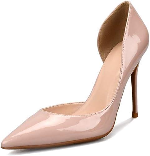 YSZDM zapatos de tacón Alto de tacón Alto de Charol para mujer,Nude,37