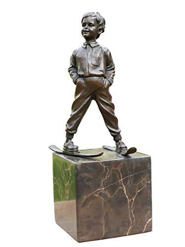 Antike Fundgrube Bronze Figur Junge mit Skier auf Marmorsockel | Skulptur Knabe Statue Kunst | H: 29 cm (2110)