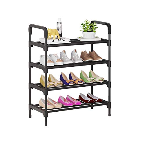 UDEAR Organizador de Zapatos de 4 Niveles, estantes de Metal de pie para 12-15 Pares de Zapatos para Sala de Estar, Entrada, Pasillo y guardarropa, Negro