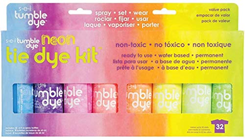 S.E.I. Neon Tie Dye Kit, Fabric Spray Dye, 8 Colors