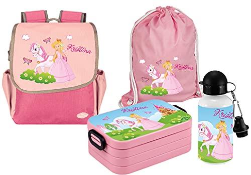 Mein Zwergenland Set 5 Kindergartenrucksack mit Brotdose, Turnbeutel und Trinkflasche Happy Knirps Next mit Name Prinzessin, 4-teilig, Pink