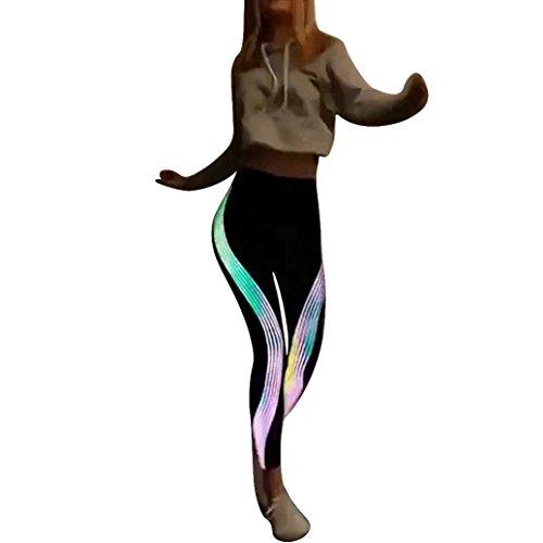 VENMO Frauen Neon Rainbow Leggings Fitness Sport Gym Running Yoga Sporthose Ladies Tech Mesh Sports Leggings, Sporthose für Damen, Lange Fitnesshose mit halbtransparenten Einsätzen (Black, M)