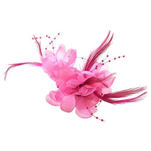 Gaoominy Pin Broche Pluma Tela Forma de Flores Fucsia para Mujer Chica Regalo