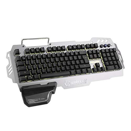 Goldyqin Diseño ergonómico Teclado retroiluminado con Cable para Juegos Sensación mecánica 104 Teclas Teclado Impermeable para PC Portátil PK-900