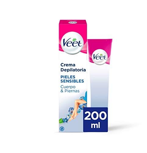 Veet Crema Depilatoria Corporal para Mujer con Aloe Vera y Vitamina E, Pieles sensibles, 200 ml (106180)
