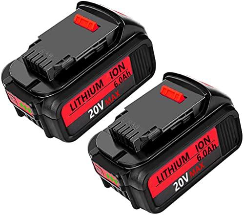 2Pack 6000mAh DCB205 Replacement for DEWALT 20V MAX XR 20V Battery 6.0Ah DCB205-2, Compatible with Dewalt 20v Battery DCB204 DCB206 DCB201 DCB203
