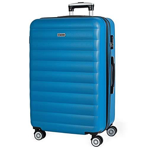 ITACA - 71270 Maleta Trolley 70 cm Grande XL de ABS. Expandible. Rígida, Resistente, Robusta y Ligera. Gran Capacidad. Mango telescópico, 2 Asas retráctiles. 4 Ruedas Dobles, Color Azul Cian