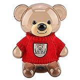 idalinya Caja de ahorro, decoración del hogar, ropa de dibujos animados, hucha como regalo para amigos para la colección de Navidad (oso rojo transparente)