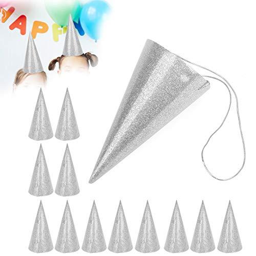 Drie kleuren om uit te kiezen Glitter feesthoedje Verjaardagshoeden voor volwassenen en kinderen voor meisjes en jongens voor vakanties(Silver)