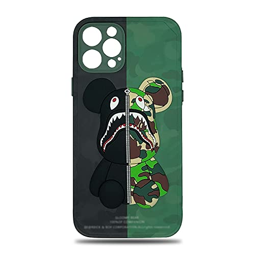 euelafu Compatible with iPhone 12 Pro Max Phone Case 6.7 inch Silicone Shockproof Cool 3D Camo Bear Pattern Street Fashion Full Body Protection Silicone Case/Cover/Skin for iPhone 12 Pro Max