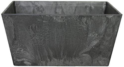 Artstone Vaso da fiori Vassoio per piante Ella, resistente al gelo e leggero, Nero, 25x12cm