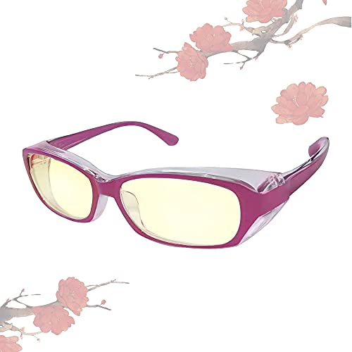 EaSygnal Safety GlassesAnti Fog Safety Goggles Blue Light Protection Glasses Lunette Protection Eyeglasses for Men and Women (Pink)