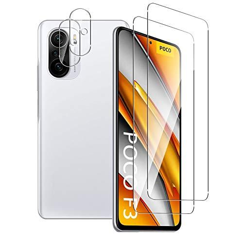 Aerku Panzerglas Schutzfolie für Xiaomi Poco F3 / Redmi K40 / K40 Pro + Kamera Schutz [2 + 2 Stück], 9H HD Anti-Kratzer Folie Ultra Glatte Film Displayschutzfolie-Transparent